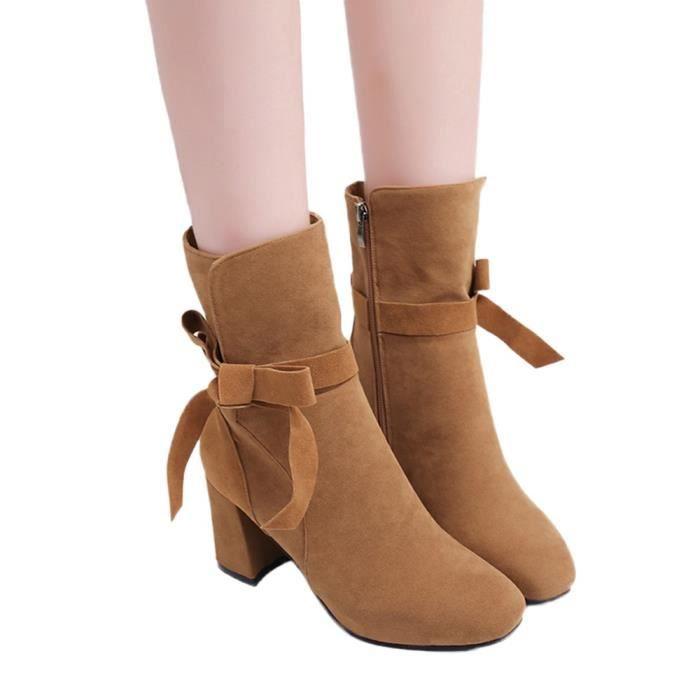 Bottes à talon en daim Bow côté épais talon Bottes Zipper cheville de mode femme veberge@5945