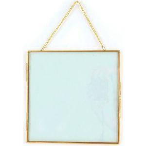 CADRE PHOTO Cadre en verre vintage - carré avec chaîne métalli