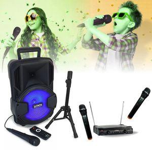 MICRO - KARAOKÉ MICROS KARAOKE sans fil + ENCEINTE SONO USB MP3 BL