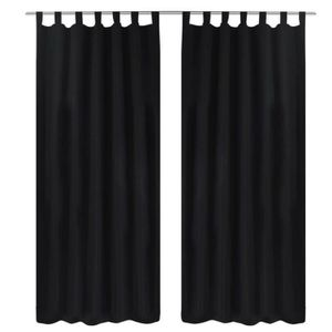 RIDEAU 2 pièces Rideau à Passant Micro Satin Noir 140 x 2