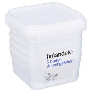 BOITES DE CONSERVATION FINLANDEK Lot de 5 boîtes de congélation carrée -