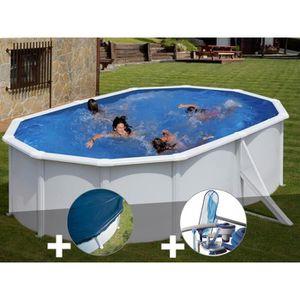 PISCINE Kit piscine acier blanc Gré Bora Bora ovale 5,27 x