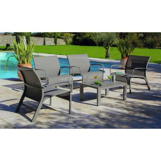 Linea Set Lounge 4 Fauteuils + Accoudoirs +1 Table Alu ...
