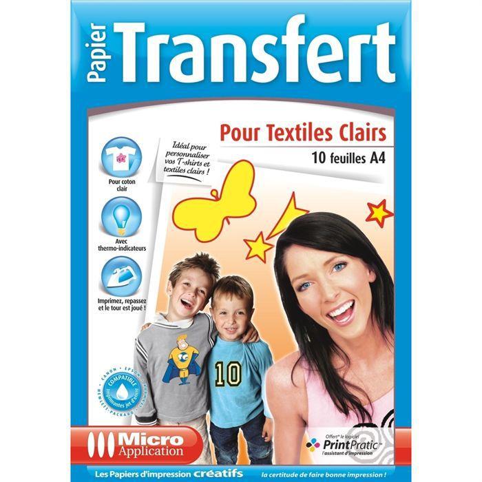 Papier Transfert T-Shirt pour Textiles Clairs - 10 feuilles de papier A4 Transfert pour coton clair