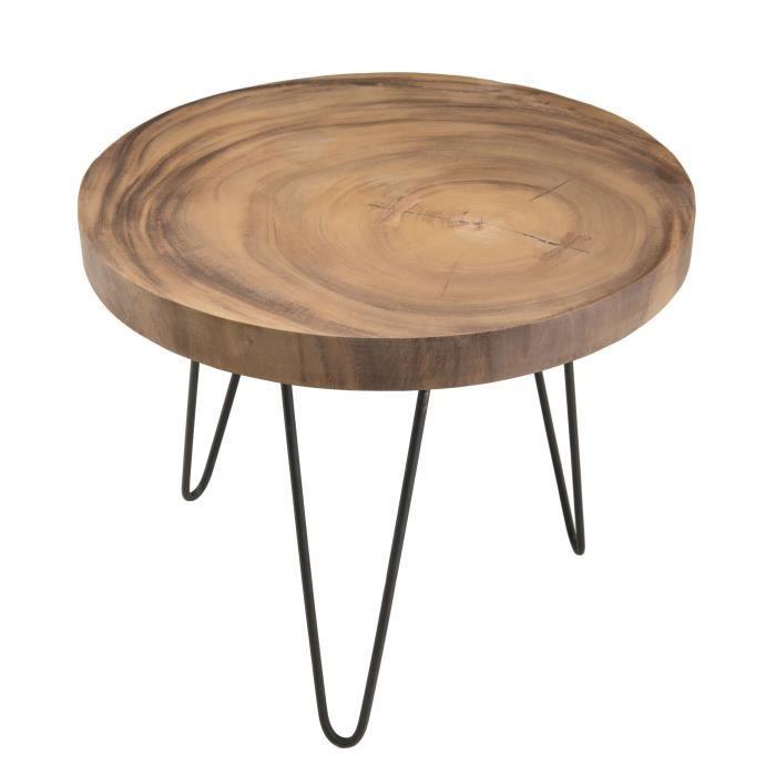 Table d'appoint ronde ethnique en bois mungur massif naturel - Pieds épingles scandi en métal - Ø55 cm