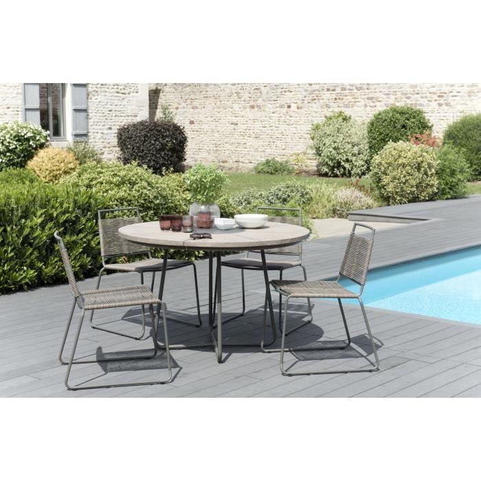 Ensemble de jardin en teck : 1 table à manger ronde - 2 lots de 2 chaises empilables avec cordage synthétique JARDITECK