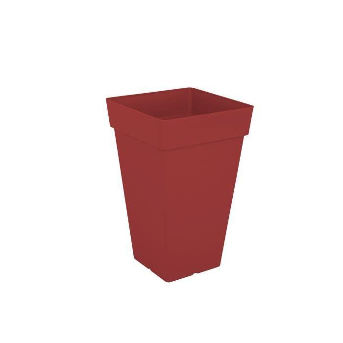 ARTEVASI Pot de fleurs Capri carré haut - 65 cm - Rouge foncé