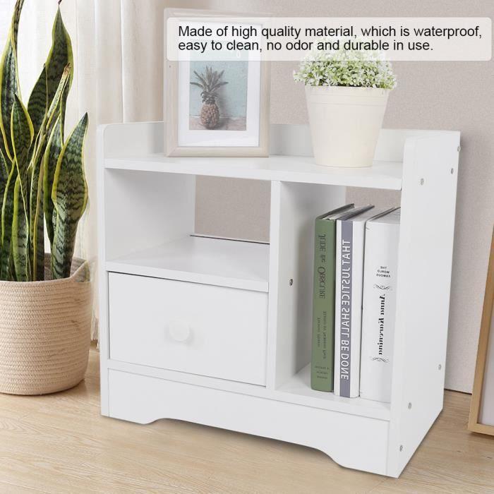 Table de chevet , table de nuit casier avec 1 tiroir et 2 niche en Bois composite - Blanc ˇ 355 HB022