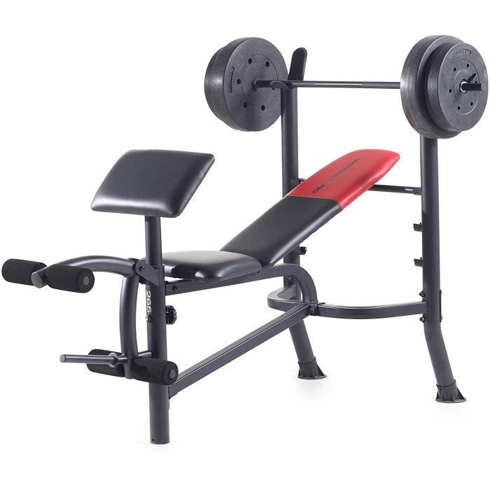 Weider Pro 265 Banc de Musculation Adulte Unisexe, Noir et Rouge, 164cm