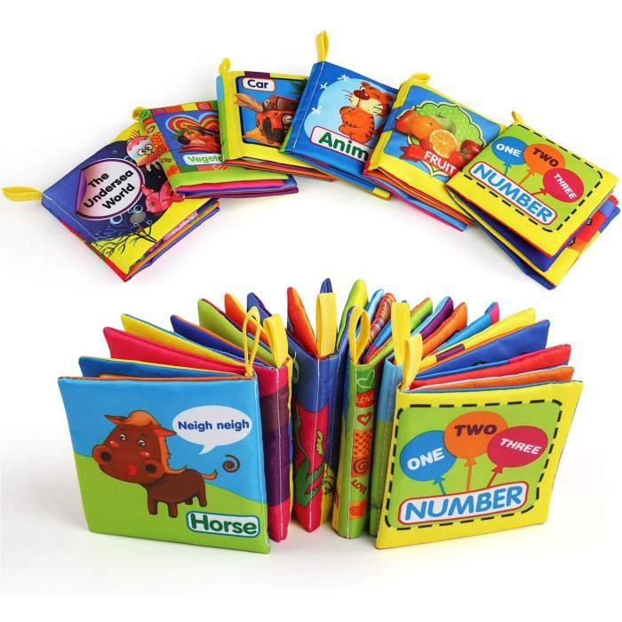 6pcs Bébé Livre Tissu, Livre de Bain Lot de 6, Jouets Educatif en Tissu pour Enfants, Jouet Educatif Lavable Premier Livre pour Bébé