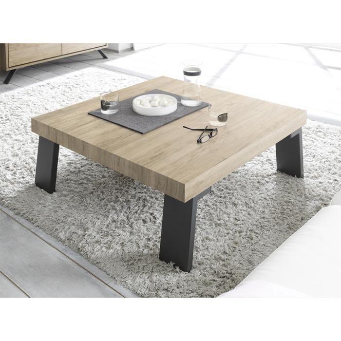 Table basse bois métal carrée PLUME L 89 x P 89 x H 40 cm Marron