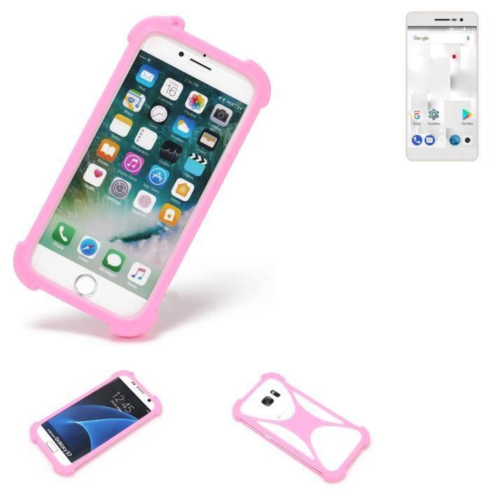 Pare-chocs pour thomson Delight TH201 Silicone Bumper téléphone portable protection rose, 1x 181449