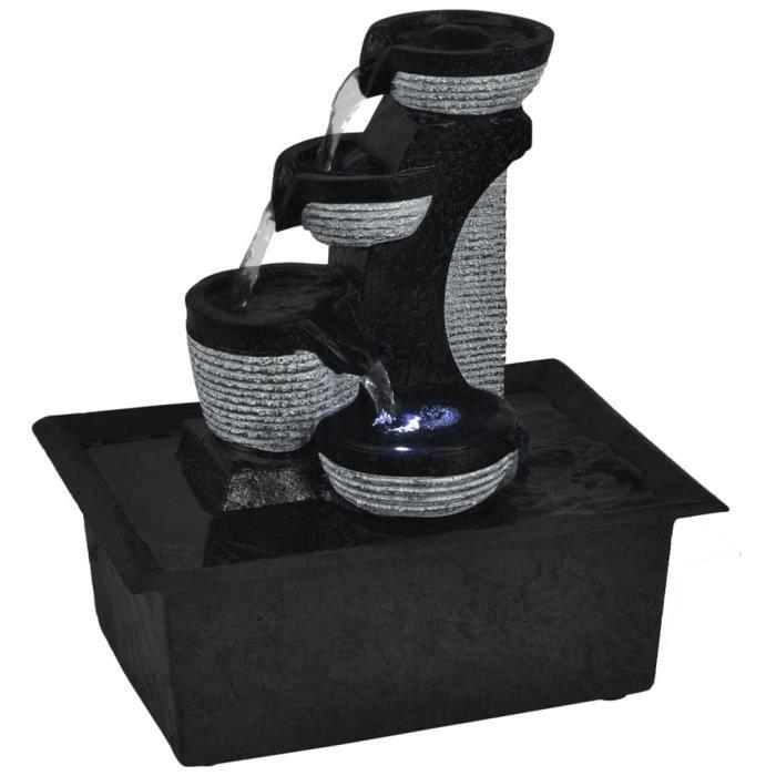 ��5060Haute qualité Fontaine d'intérieur avec lampe LED - Cascade Contemporain Décoration pour Bureau, Salle de séjour, Maison Polyr