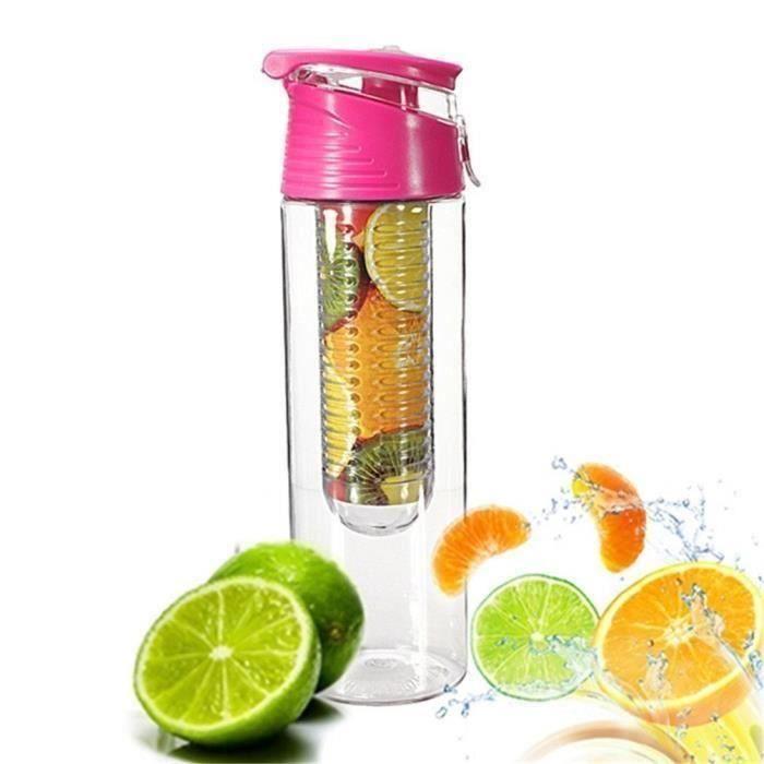 Gourde en plastique - Pour jus de fruits avec eau gazeuse - 800 ml - Pour faire infuser les fruits - Plastique