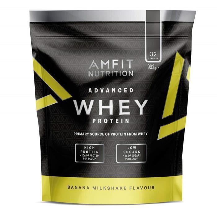 Amfit Nutrition Advanced Whey protéine de lactosérum saveur milk-shake à la banane, 32 portions, 990 g, protéine sportive