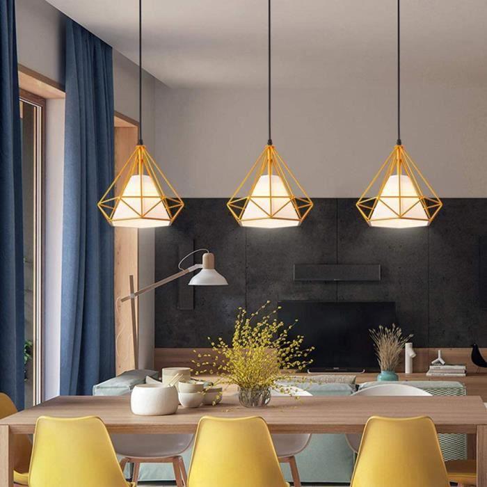 Luminaire Suspension 3 Lampes Industrielle Diamant Cage M&eacutetal R&eacutetro Abat-Jour E27 Jaune Vintage Lustre E27 Corde A1115