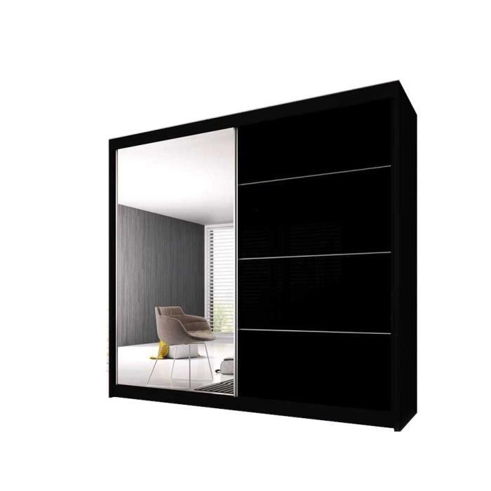 Armoire de Chambre avec 2 Portes coulissantes - Penderie (Tringle) avec étagères (LxHxP): 183x2180x61 Ben 31 (Noir/Noir+ Miroir)