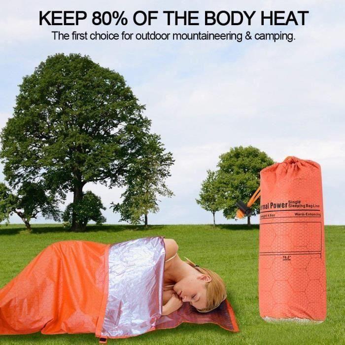 Sac de Couchage Envelope Ultraléger Compact Couverture d'urgence pour Camping Randonnée en Plein Air, 200 * 70cm Orange