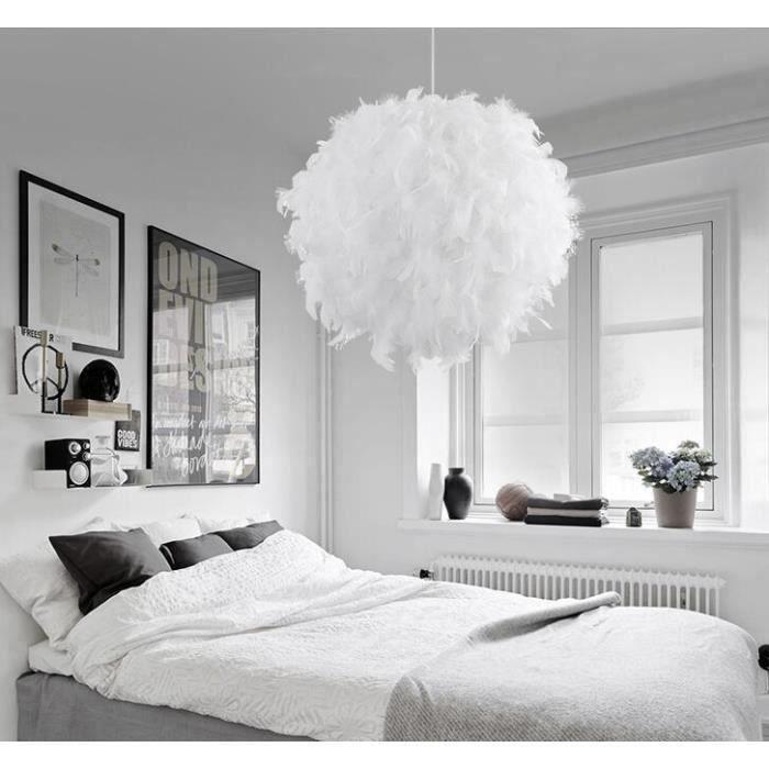 30cm Lustre suspension plume luminaire en plume diamètre 30cm pour salon chambre cuisine salle a manger led design moderne