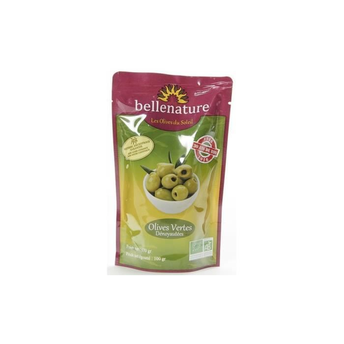 Olives vertes dénoyautées doypack 100gr
