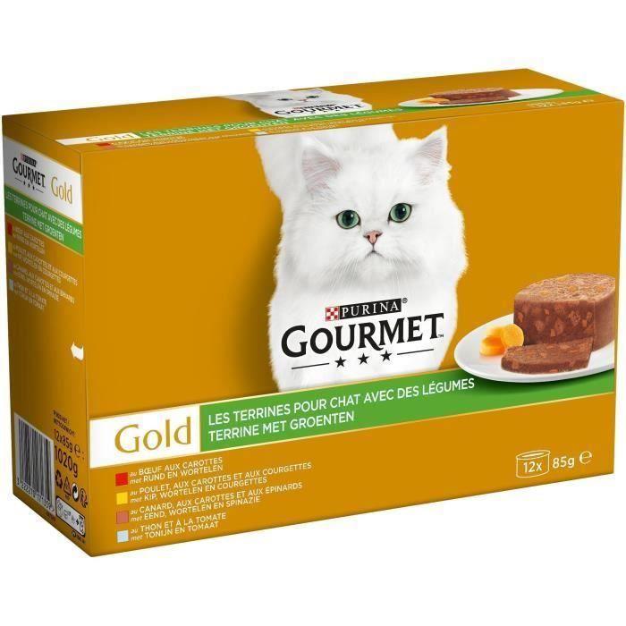 GOURMET Gold Les terrines aux légumes - Boîtes - Pour chat adulte - 12 x 85 g (Lot de 3)