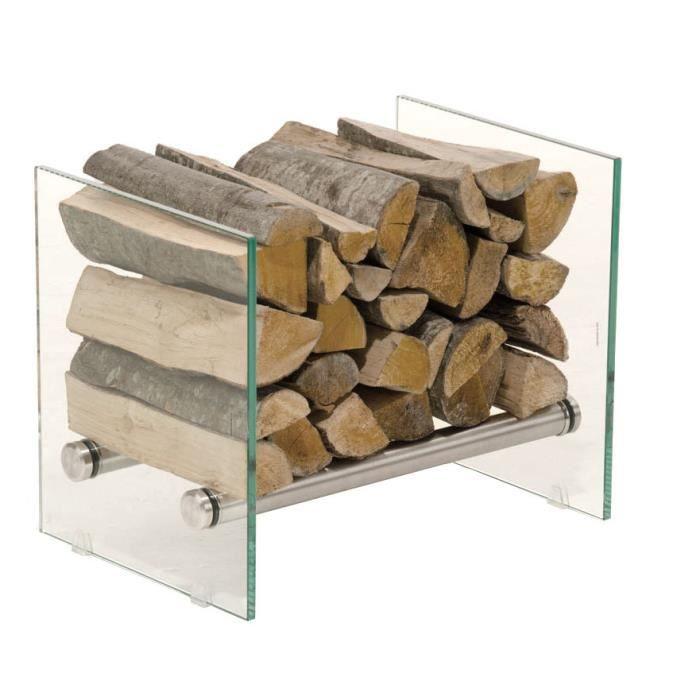 CLP Porte bûches cheminée exclusif GAVIN en acier inoxydable, Étagère de cheminée, verre de sécurité massif 40 cm Verre clair