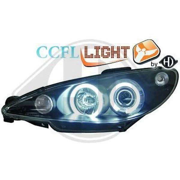 Paire de feux phares Peugeot 206 98-02 angel eyes CCFL noir (681)