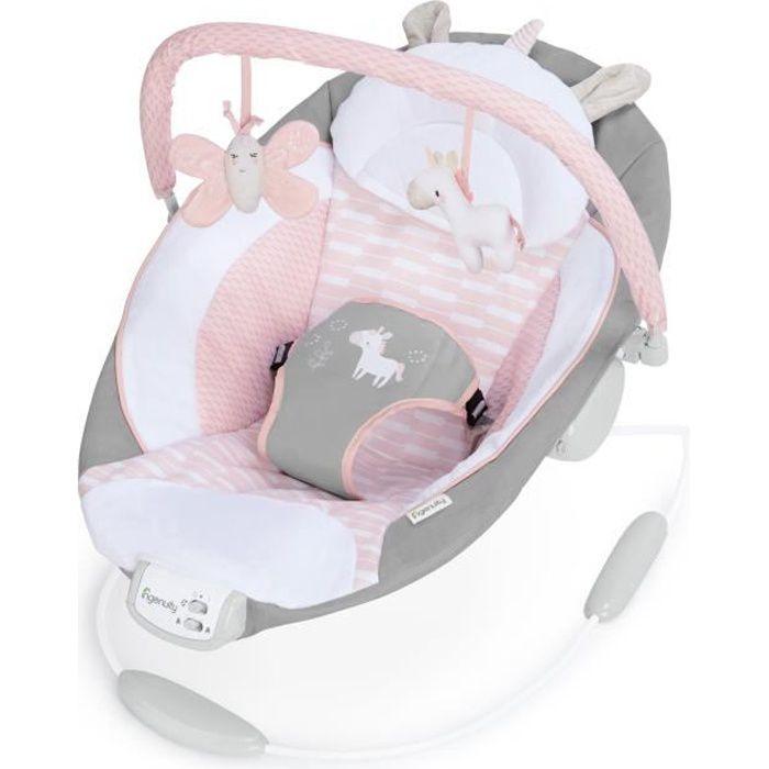 INGENUITY Transat Bébé avec vibrations et mélodies rose - Flora
