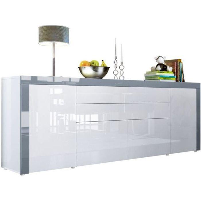Buffet Blanc / Gris haute brillance 200 cm