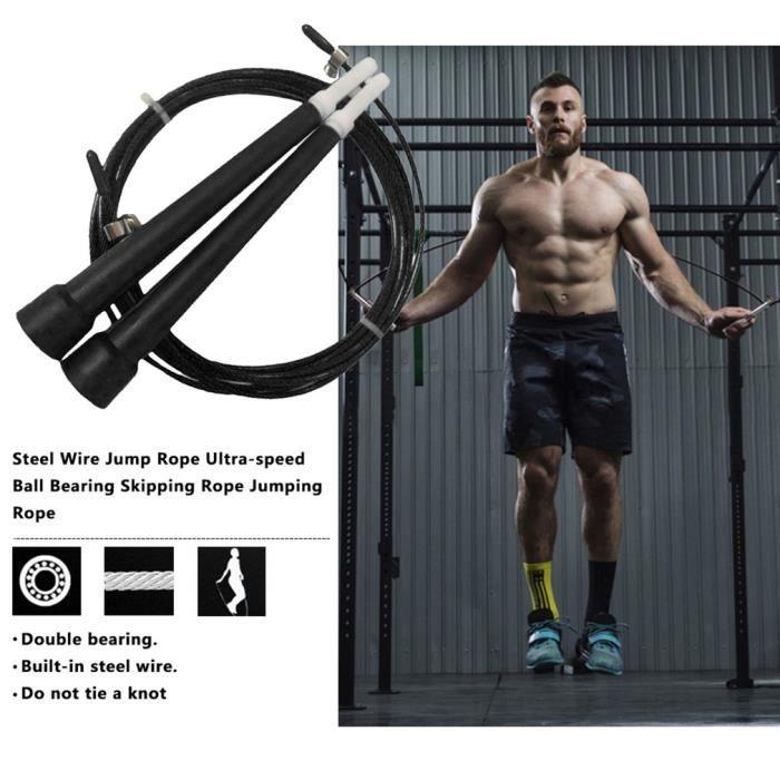 Corde à Sauter Ultra-Rapide de Perspiration en Acier pour l'entraînement de Musculation-Noir