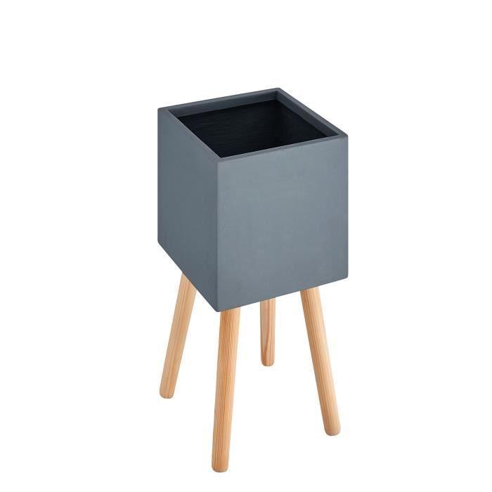 Pot carré sur pieds en bois - 41 x 42x 43cm - Pieds: 40 cm - Gris anthracite