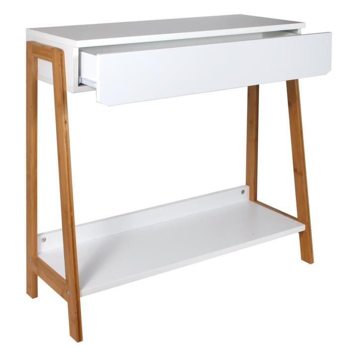 Console avec tiroir en MDF coloris blanc-beige - Dim : 83.8 x 34 x 77 cm