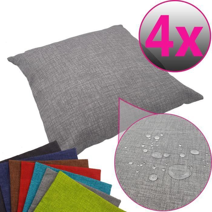 SET x4 Housses de coussin décorative pour l'extérieur 40 x 40 cm en gris - Housse de coussin hydrofuge idéal pour extérieur