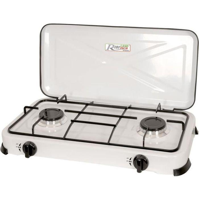 Réchaud à gaz 2 feux 4 pieds 4,4kw blanc avec couvercle - PRF350 - RIBILAND