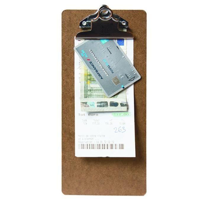 Clip board porte-addition marron 3 Bois