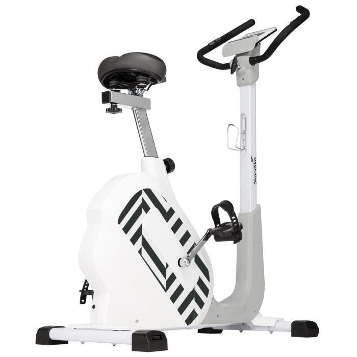 Skandika Elskling - Vélo d'appartement avec Selle Tourer XL - 24 Prog. - 32 Niveaux - Bluetooth - Blanc