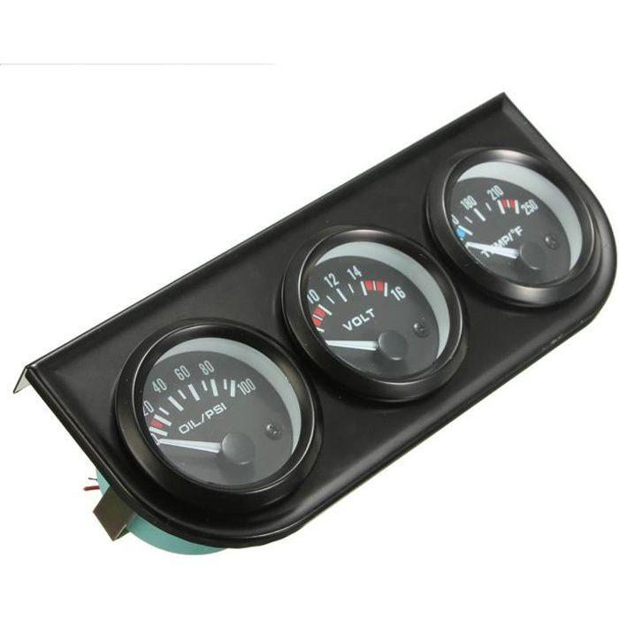 2''52mm LED Voiture Voltmètre+Jauge Pression Huile+Eau Température Gauge+Support