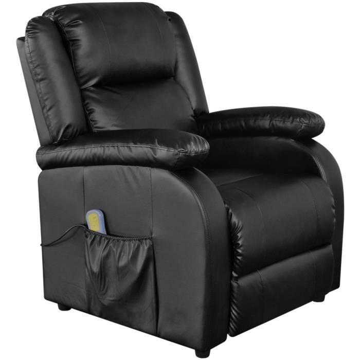 Fauteuil électrique de massage en Cuir artificiel noir avec dossier et repose-pied Réglable ergonomique à détendre de bureau salon