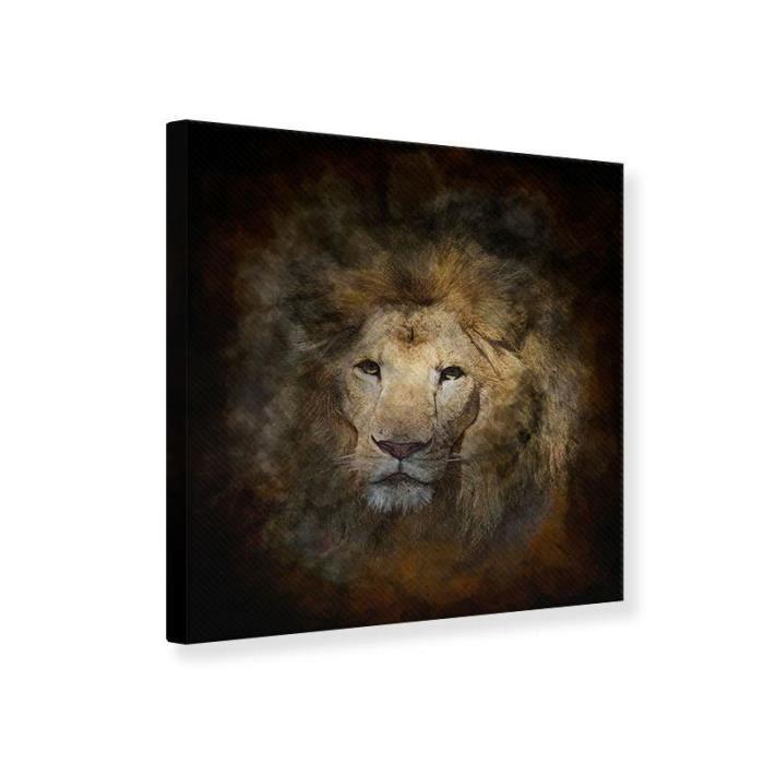 TABLEAU - TOILE Tableau Toile Peinture Lion Portrait 30 x 30 cm