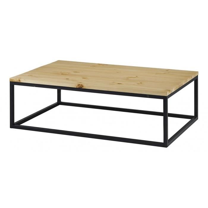 table basse rectangulaire bois et m tal achat vente. Black Bedroom Furniture Sets. Home Design Ideas