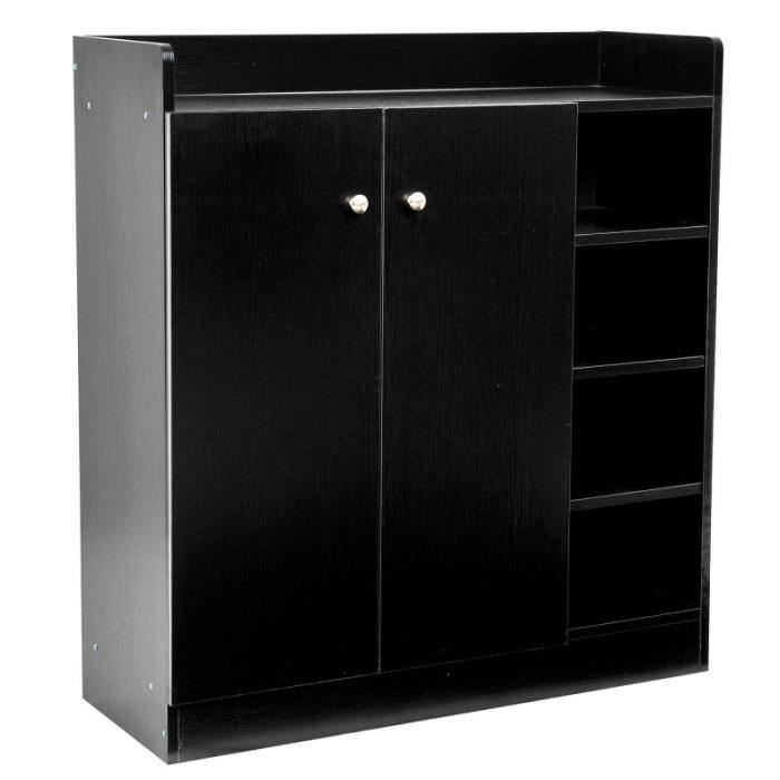 meuble armoire chaussure bois tiroirs noir 2005003. Black Bedroom Furniture Sets. Home Design Ideas