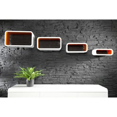 tag re mural design 4 cube rectangle blanc orange achat vente etag re murale tag re mural. Black Bedroom Furniture Sets. Home Design Ideas
