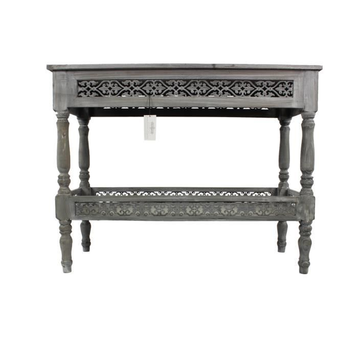 meuble console bois ceruse blanc gris 98x38x77cm achat. Black Bedroom Furniture Sets. Home Design Ideas