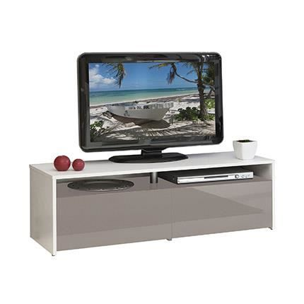 Meuble tv blanc taupe 2 tiroirs taupe laqu achat - Meuble tv laque taupe ...