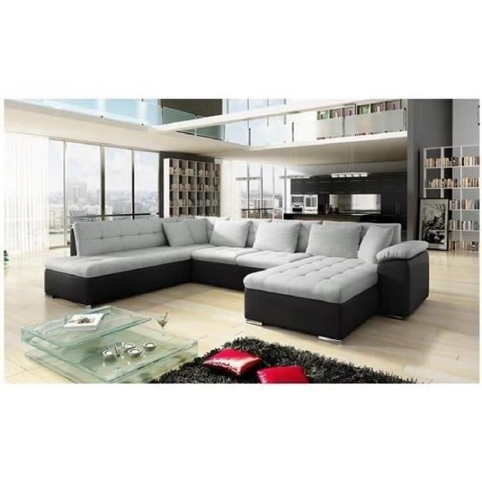 canap angle u alta 3 gris noir angle droit achat vente canap sofa divan cdiscount. Black Bedroom Furniture Sets. Home Design Ideas