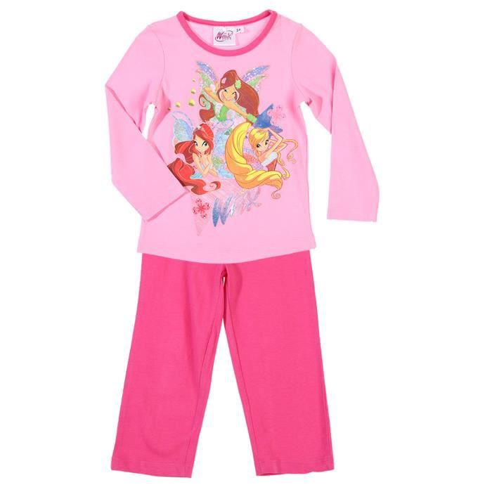 pyjama long enfant fille les win rose rose achat. Black Bedroom Furniture Sets. Home Design Ideas