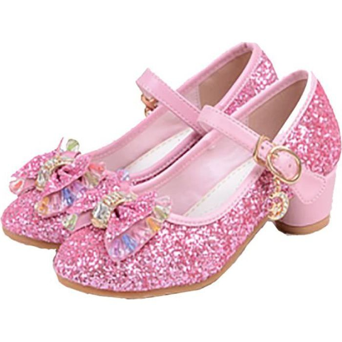 sandales talon enfant filles ballerines princesse chaussures rose pour d guisement soir e. Black Bedroom Furniture Sets. Home Design Ideas