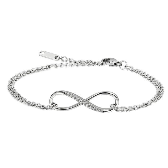 1 Bracelet Oeil Porte Bonheur Fermoir Mousqueton Infini Bijoux Femme 17cm