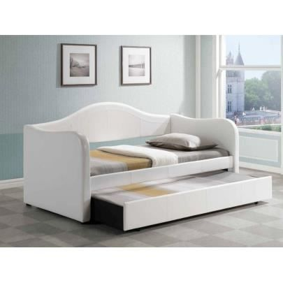lit gigogne lipova 2x90x190cm simili blanc achat vente lit complet lit gigogne lipova. Black Bedroom Furniture Sets. Home Design Ideas