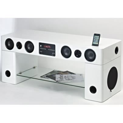 Meuble tv home cin ma int gr watts blanc achat vente meuble tv meuble tv home cin ma for Meuble tv hifi integre
